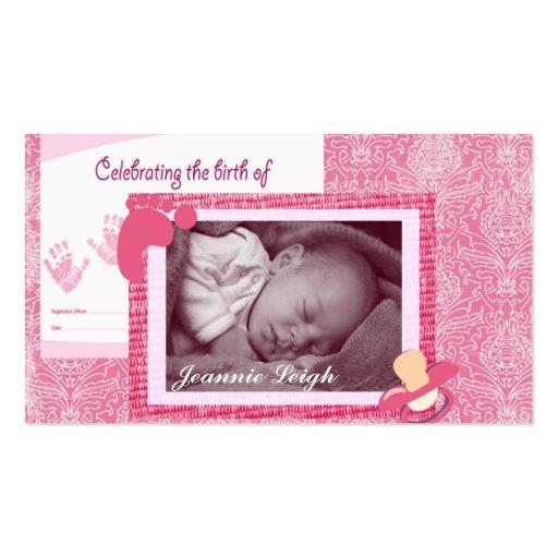 Damask Baby Girl Birth Photo Keepsake Business Card Templates