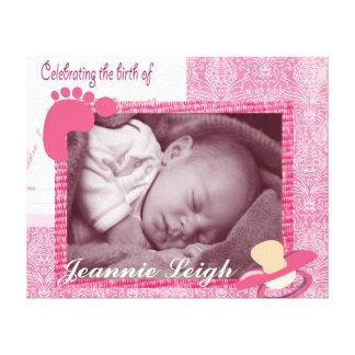 Damask Baby Girl Birth Photo Keepsake Canvas Print