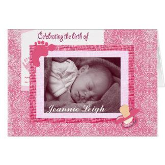 Damask Baby Girl Birth Photo Keepsake Card