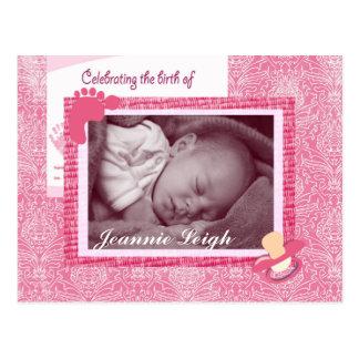 Damask Baby Girl Birth Photo Keepsake Postcard