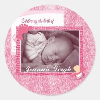 Damask Baby Girl Birth Photo Keepsake Classic Round Sticker