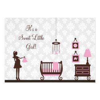 Damask Baby Shower Girl Invitation