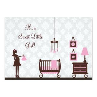 Damask Baby Shower : Girl : Invitation