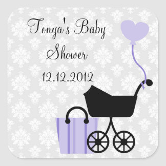 Damask Baby Shower : Girl : Stickers