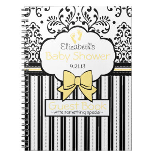 Damask Baby Shower Guest Book- Spiral Notebook