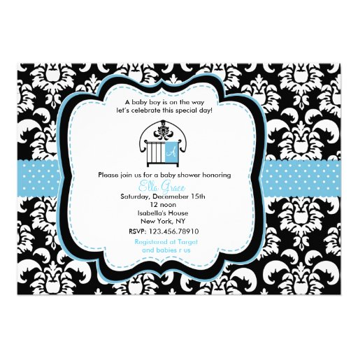 damask baby shower invitations 5 x 7 invitation card zazzle