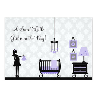 Damask Baby Shower : Purple : Invitation