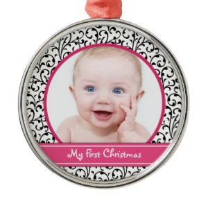 Damask Baby's First Christmas Ornament ornament
