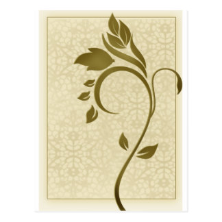 Damask background with gold leaf flower postcard