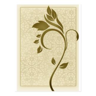 Damask background with gold leaf flower postcard