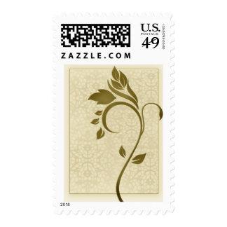 Damask background with gold leaf flower stamps