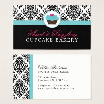 Professional Business Damask Bakery Business Cards