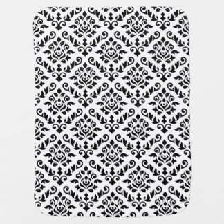 Damask Baroque Big Pattern Black on White Stroller Blanket