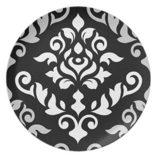 Damask Baroque Design Monochrome Melamine Plate