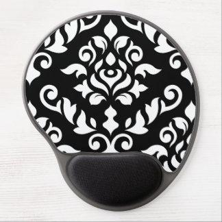 Damask Baroque Design White on Black Gel Mouse Mats