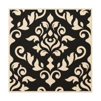 Damask Baroque Large Design on Black Wood Print