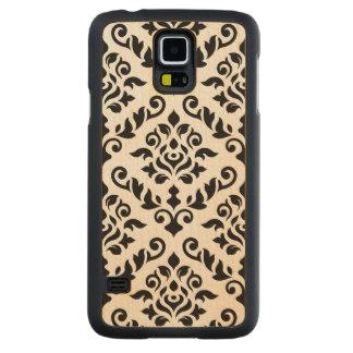 Damask Baroque Large Pattern Black Carved Maple Galaxy S5 Slim Case