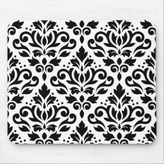 Damask Baroque Large Pattern Black on White Mouse Mat