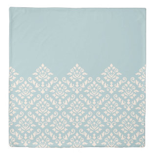 Damask Baroque Part Pattern Cream on Blue Duvet Cover at Zazzle