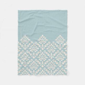 Damask Baroque Part Pattern Cream on Blue Fleece Blanket
