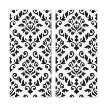 Damask Baroque Pattern Black on White Canvas Print