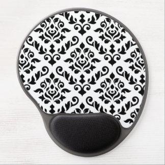 Damask Baroque Pattern Black on White Gel Mouse Mat