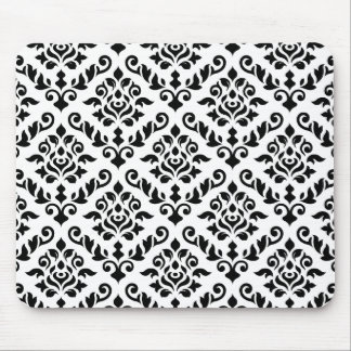 Damask Baroque Pattern Black on White Mouse Pads