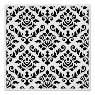 Damask Baroque Pattern Black on White Poster
