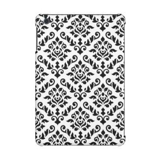 Damask Baroque Pattern Black on White (v) iPad Mini Cases