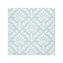 Damask Baroque Pattern Cream on Blue Canvas Print