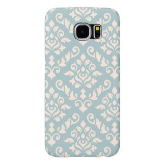 Damask Baroque Pattern Cream on Blue Samsung Galaxy S6 Case
