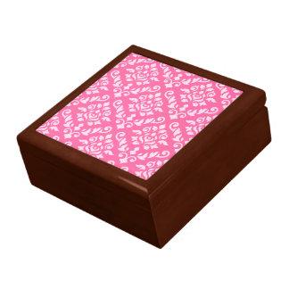 Damask Baroque Pattern Light on Dark Pink Keepsake Box