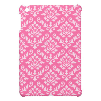 Damask Baroque Pattern Light on Dark Pink (h) iPad Mini Case