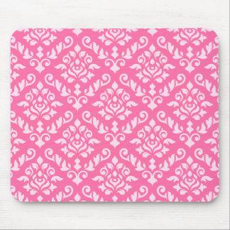 Damask Baroque Pattern Light on Dark Pink Mousepad