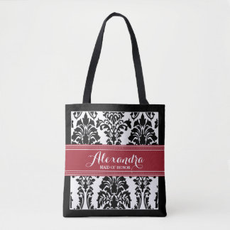 Damask Baroque Pattern Wedding Party Tote (maroon)