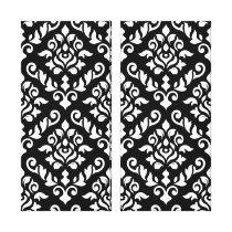 Damask Baroque Pattern White on Black Canvas Print