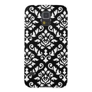 Damask Baroque Pattern White on Black Galaxy S5 Case