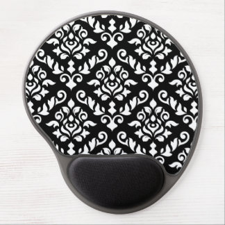 Damask Baroque Pattern White on Black Gel Mousepads