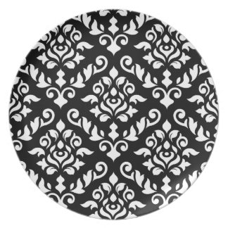 Damask Baroque Pattern White on Black Melamine Plate