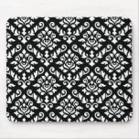 Damask Baroque Pattern White on Black Mouse Pad