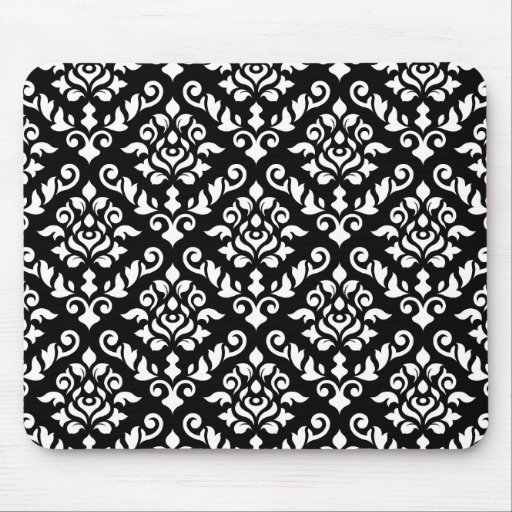 Damask Baroque Pattern White on Black Mouse Pads
