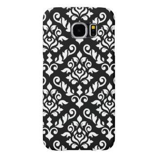 Damask Baroque Pattern White on Black Samsung Galaxy S6 Case