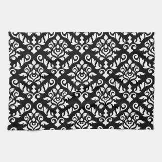 Damask Baroque Pattern White on Black Towel
