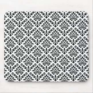 Damask Baroque Repeat Pattern Black on White Mouse Pads