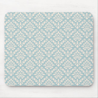Damask Baroque Repeat Pattern Cream on Blue Mouse Pads