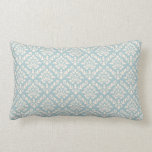 Damask Baroque Repeat Pattern Cream on Blue Pillows