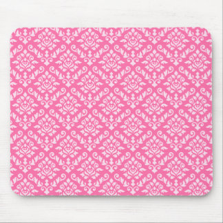 Damask Baroque Repeat Pattern Light on Dark Pink Mousemat