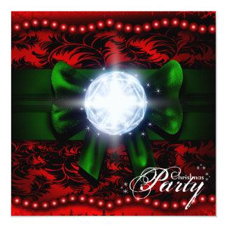 "Damask Beads Diamonds & Bow Christmas Party Invite 5.25"" Square Invitation Card"