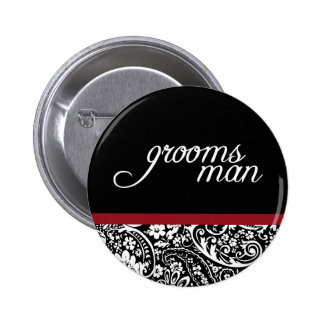 Damask Beauty Groomsman Button