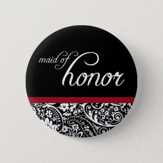 Damask Beauty Maid of Honor Button